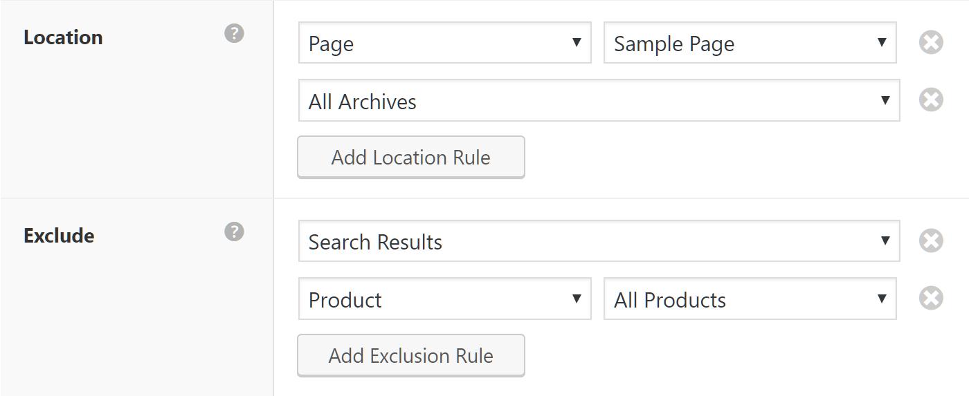 Thiết lập nơi trên trang web, phần sẽ được sử dụng