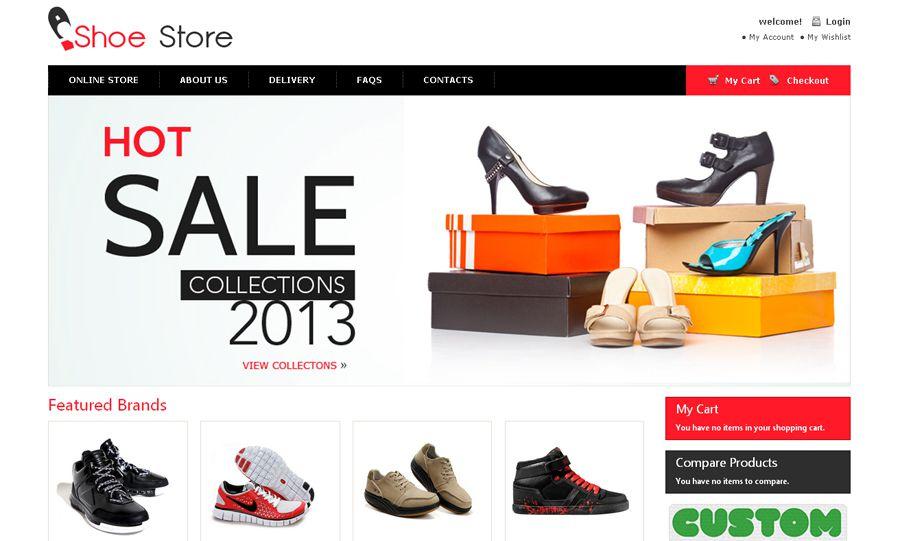 Pulsuz ayaqqabı mağazası OpenCart şablonu