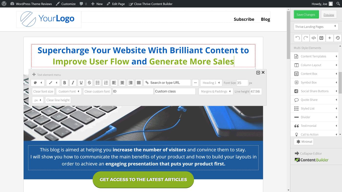 İçerik Oluşturucu eklentisi kullanıcı arayüzü