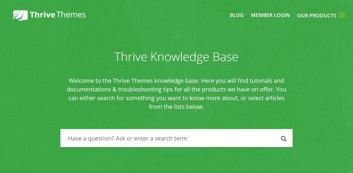 """Získajte pomoc v znalostnej databáze Thrive Themes """"width ="""" 1400 """"height ="""" 685"""