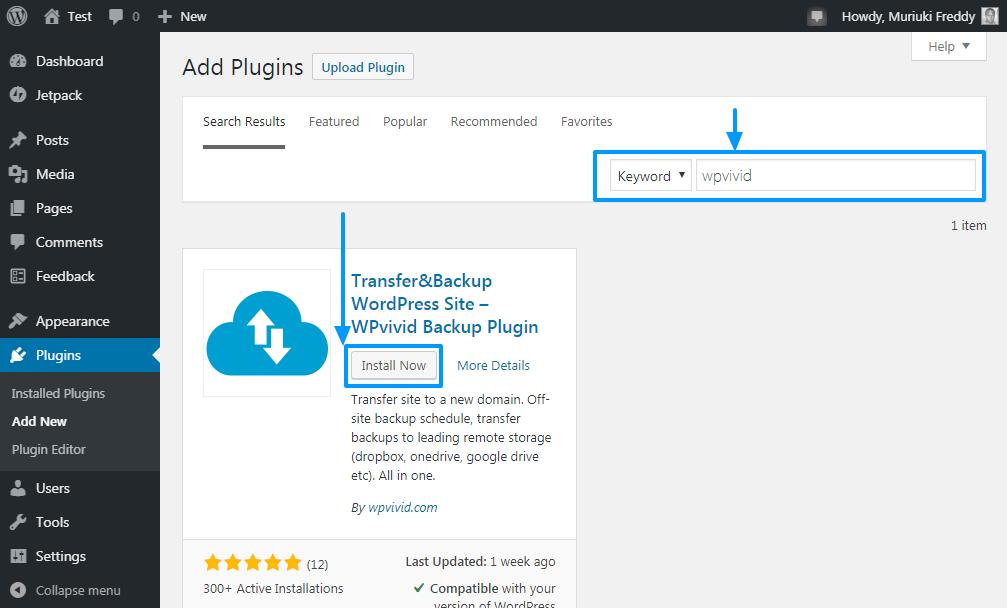 WordPress idarəetmə panelində wpvivid backup plaginini quraşdırın