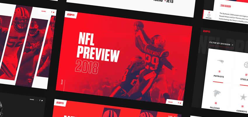 ESPN NFL Sport Fitness Vista previa Diseño web Inspiración ui ux