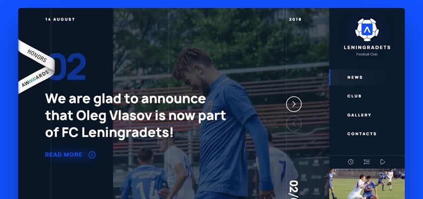 Leningradets Football Club Sport Fitness Diseño web Inspiración ui ux