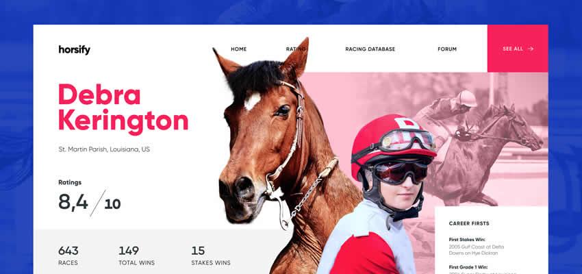 Carrera de caballos Deporte Fitness Diseño web Inspiración ui ux