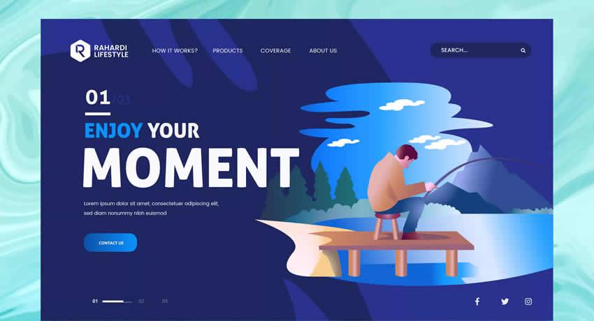 Pesca PSD vector plantilla deporte fitness diseño web inspiración ui ux