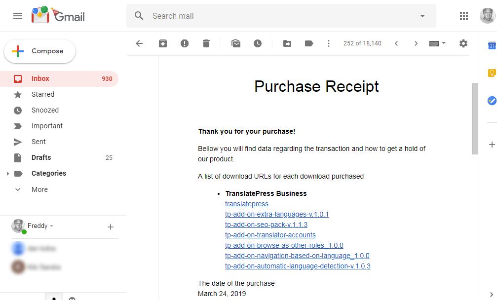 Comprobante de compra para traducir prensa en Gmail