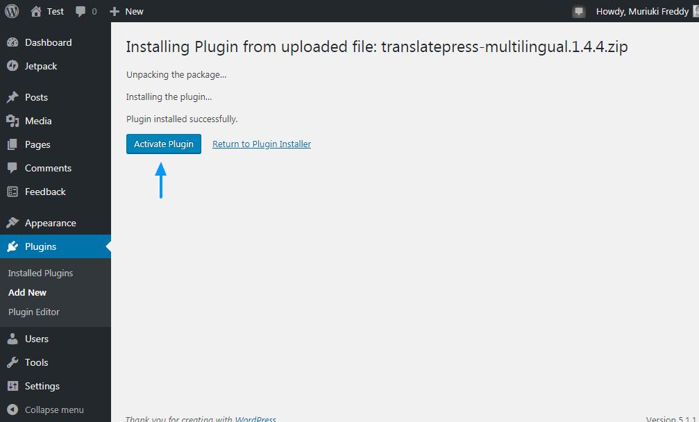 Active el complemento de WordPress para traducir prensa