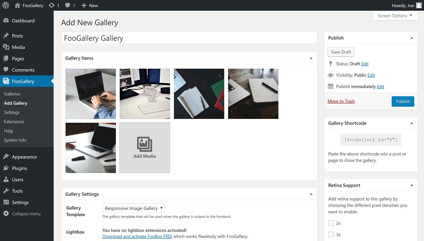 Užívateľské rozhranie FooGallery