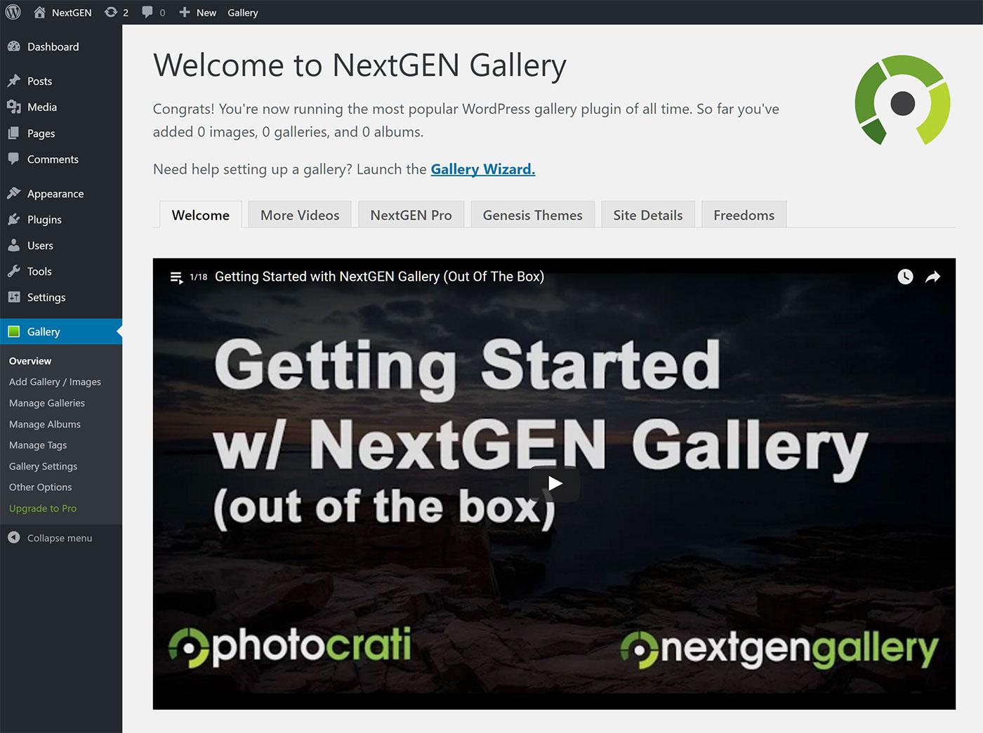 Domovská obrazovka NextGEN.