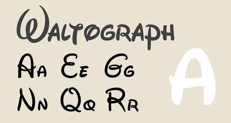 Waltograph disney film tv free typografia písma