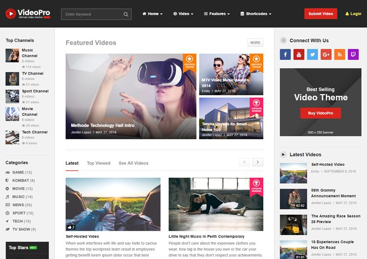 VideoPro video wordpress tému