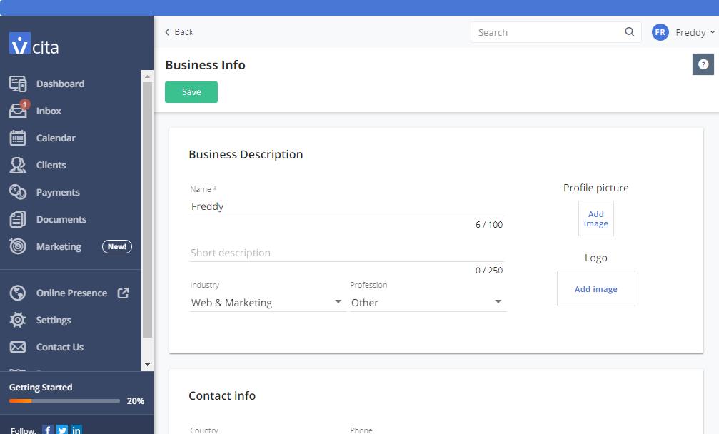 vcita biznes məlumat səhifəsi