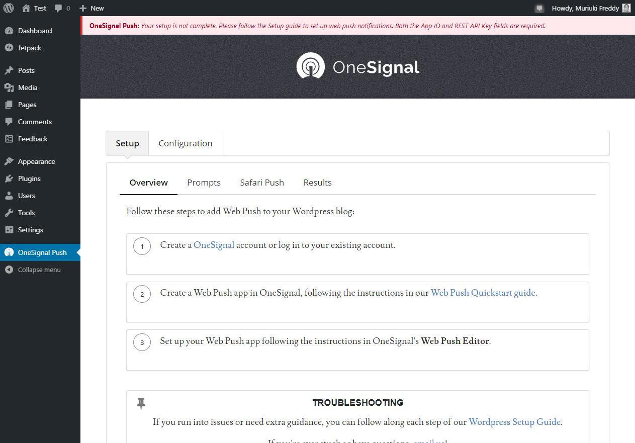 trang cấu hình cá nhân trong quản trị viên WordPress