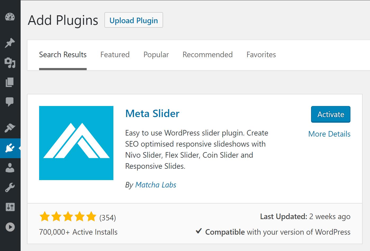Cài đặt Meta Slider từ Bảng điều khiển WordPress của bạn