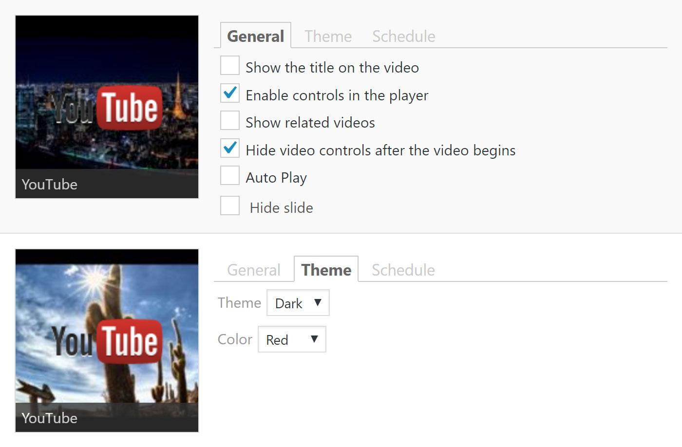 Các slide hiển thị video của YouTube