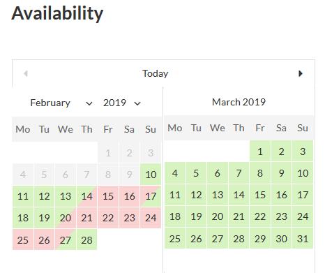 calendario de disponibilidad de reserva de hotel motopress
