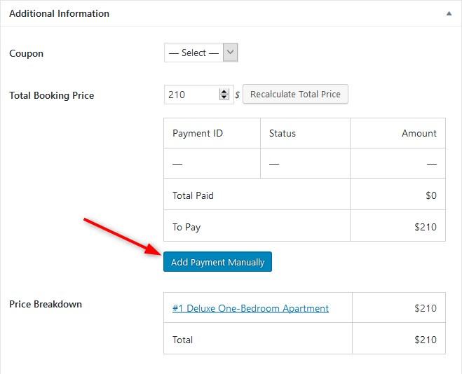 plugin de reserva de hotel motopress agregar pagos manualmente