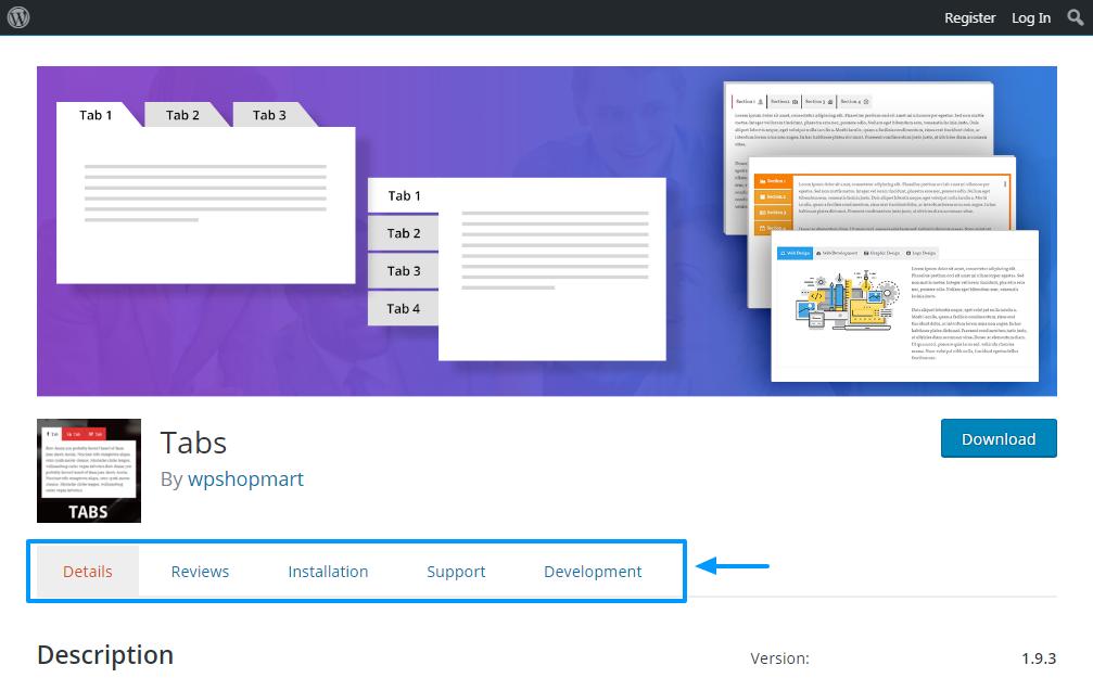 các tab trên trang mô tả plugin wordpress.org