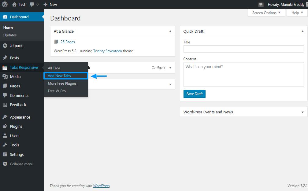 Pridajte nové karty pomocou doplnku pre responzívne karty WordPress