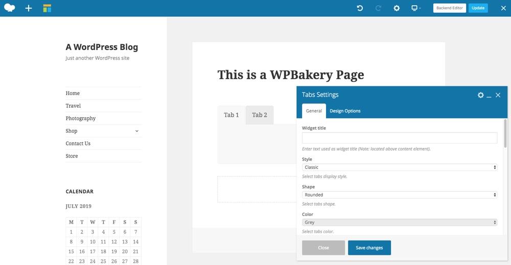 Các tab Trình tạo trang WPBakery