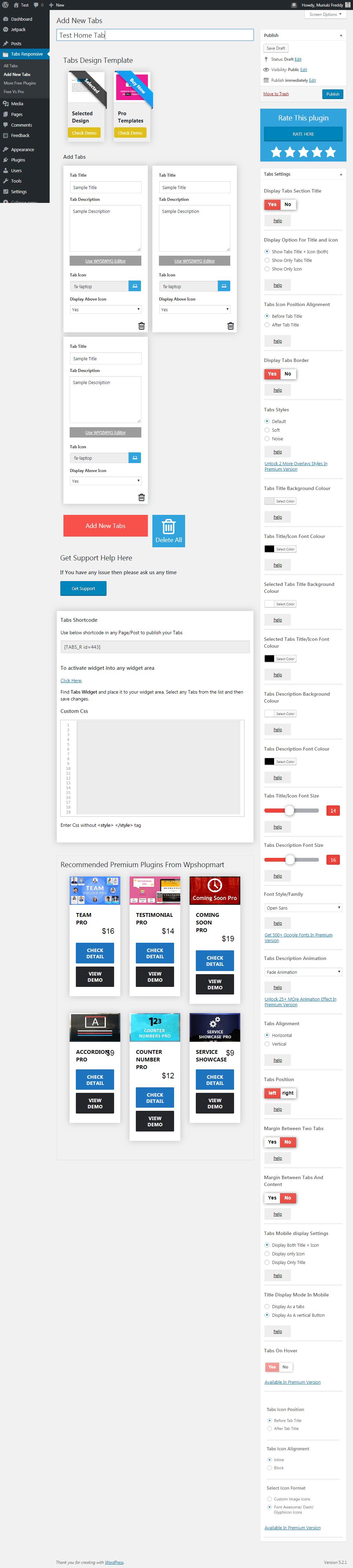 Trình tạo tab WordPress đáp ứng