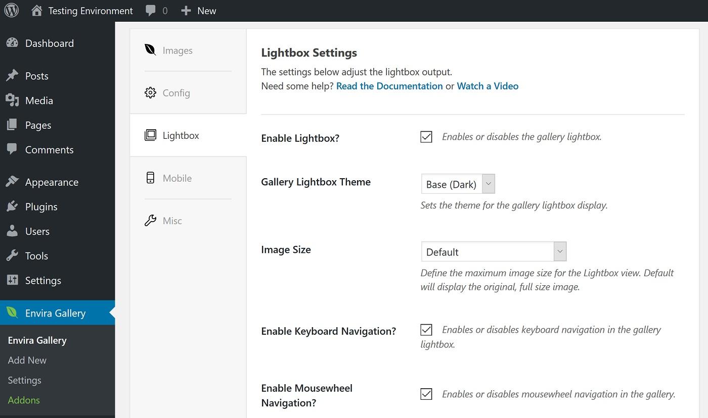Lightbox parametrləri ekranının ekran görüntüsü