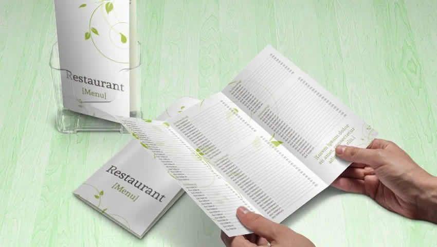 Green Swirls Tri-Fold Menu / Mẫu brochure