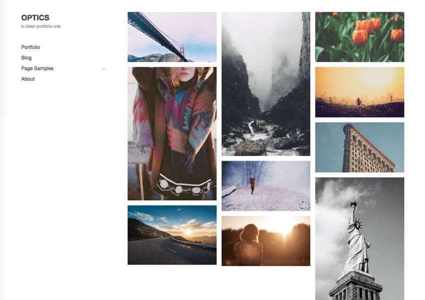 Cámara de wp de billetera sensible libre de wordpress con tema de fotoblog óptico