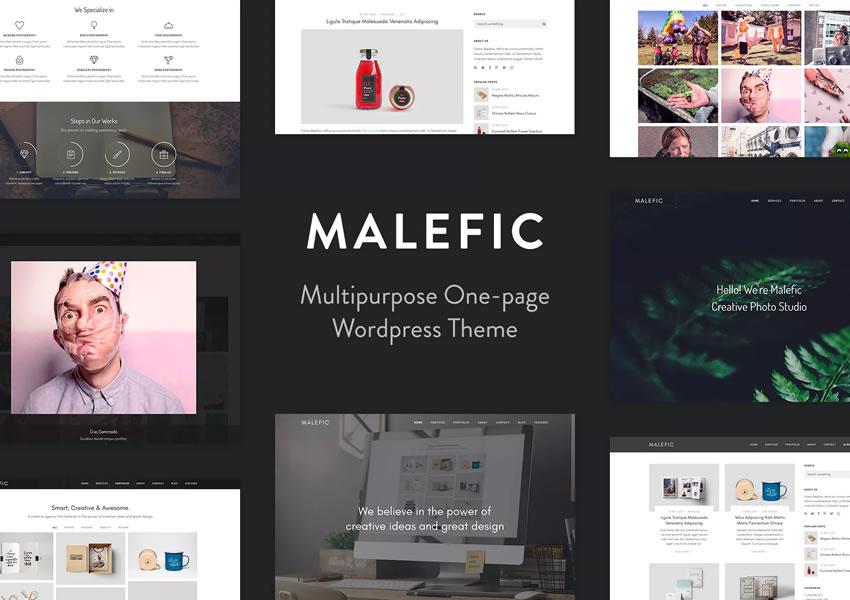 Malefic wordpress tema fotógrafo portafolio cámara
