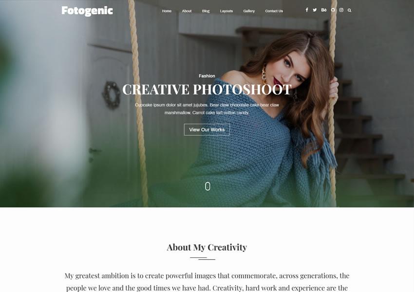 Portafolio creativo y fotogénico creativo de WordPress WordPress WP Camera Responsive Photographer