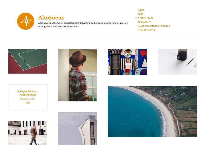 AltoFocus Photoblogger tema gratuito de wordpress responsivo Fotógrafo portfolio camera wp