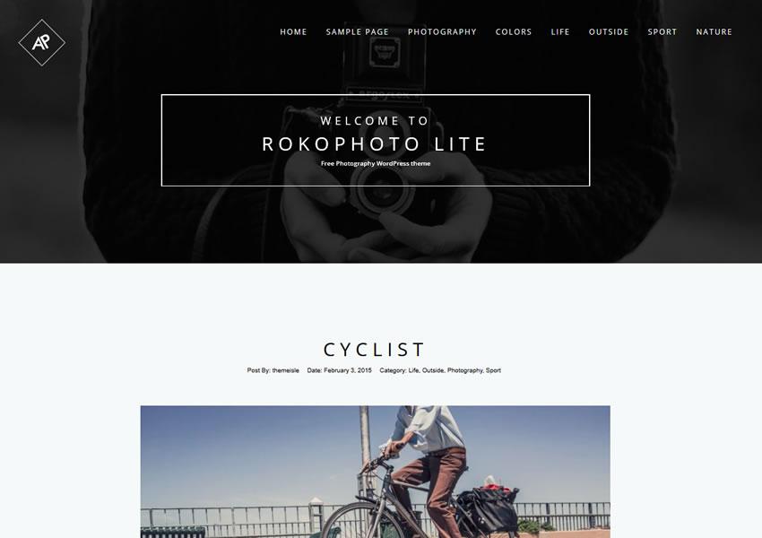 Rokophoto WordPress theme portafolio de cámara de fotógrafo wp receptivo gratuito