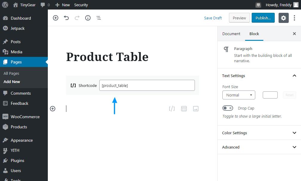 Agregue una nueva tabla de productos con el código de la tarjeta a la tabla de productos de Woocommerce