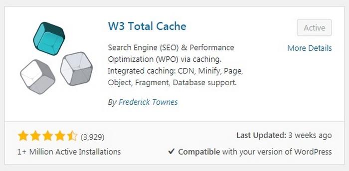 Errores de WordPress - WP Total Cache