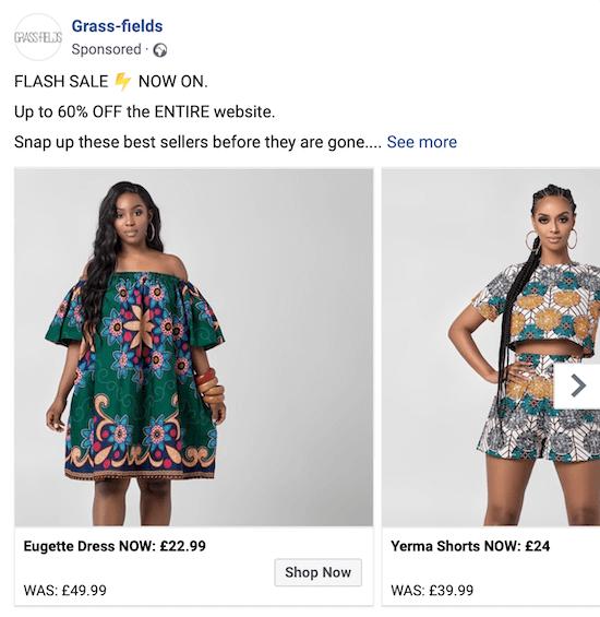 príklad Facebook reklama na bleskový predaj