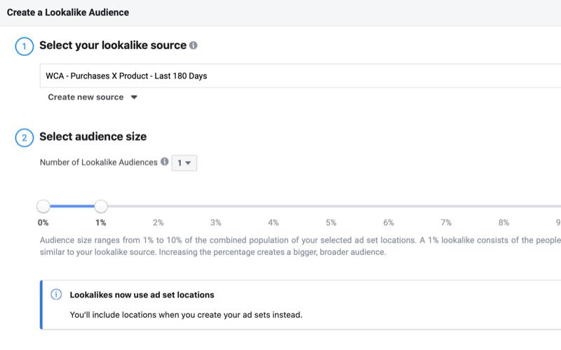 oluşturmak Facebook Belirli bir ürünün satın alınmasına dayalı benzer kitle