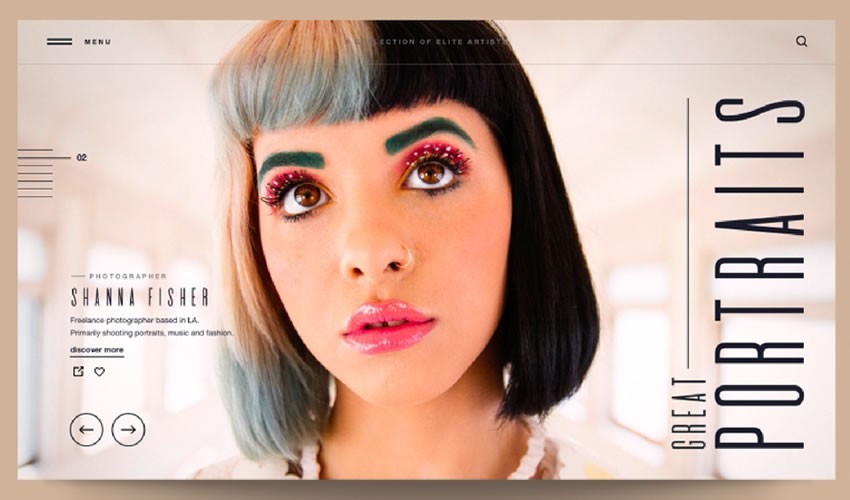 Great Portraits Khám phá danh mục đầu tư của các nhiếp ảnh gia trang web camera cảm hứng thiết kế web ui ux