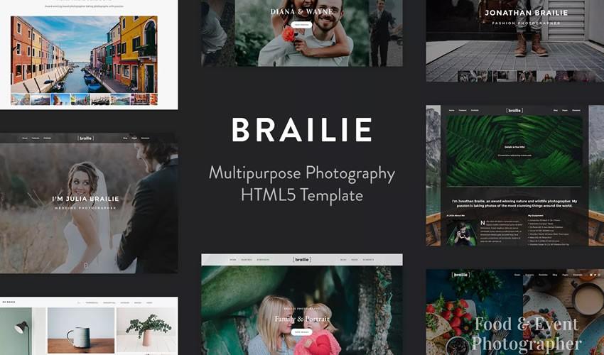 Brailie Photography Template danh mục máy ảnh trang web thiết kế web cảm hứng ui ux