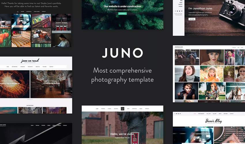 Juno Photography Template nhiếp ảnh gia danh mục đầu tư máy ảnh trang web thiết kế web cảm hứng ui ux