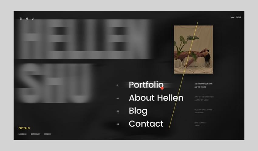 Shu Hellen nhiếp ảnh gia danh mục đầu tư máy ảnh trang web thiết kế web cảm hứng ui ux