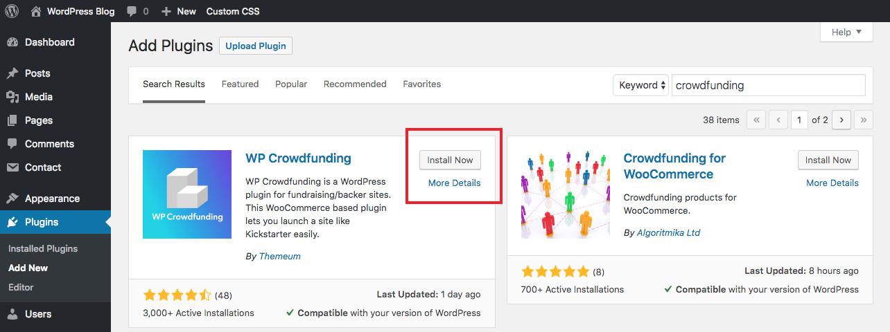Cài đặt WP Crowdfunding