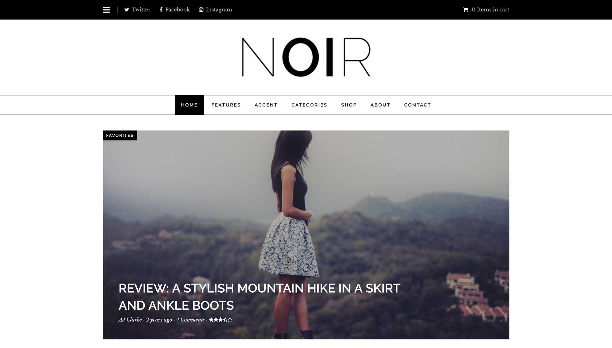 Bản demo chủ đề Noir