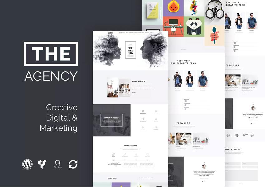 Posúvanie tematickej stránky medzi tematickými stránkami agentúry Creative Creative Agency