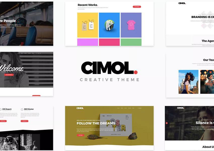 Téma portfólia Cimol wordpress sa posúva zo stránky na stránku