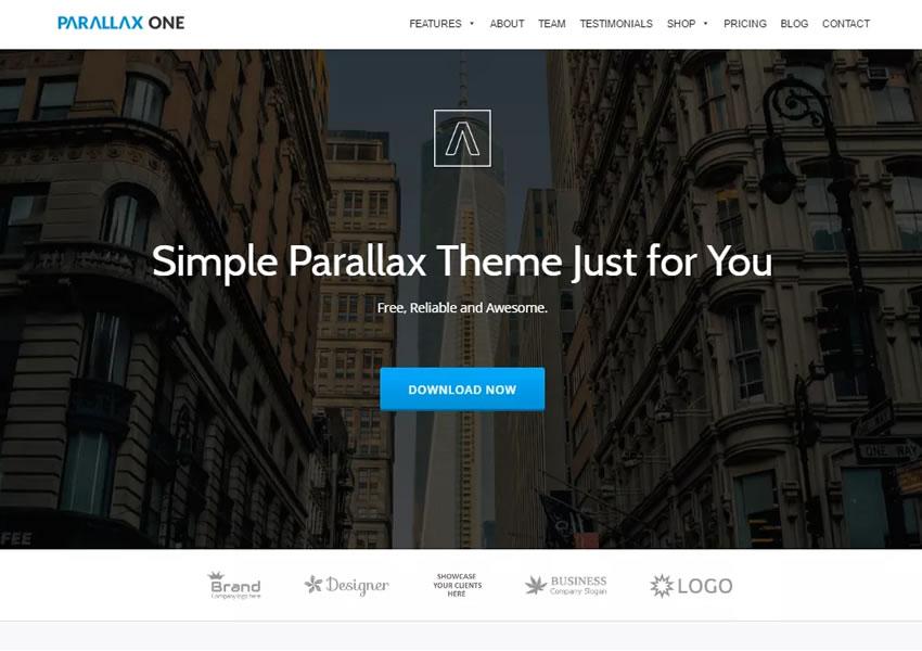 Parallax Jeden bezplatný responzívny motív wp wordpress Word zo stránky na stránku