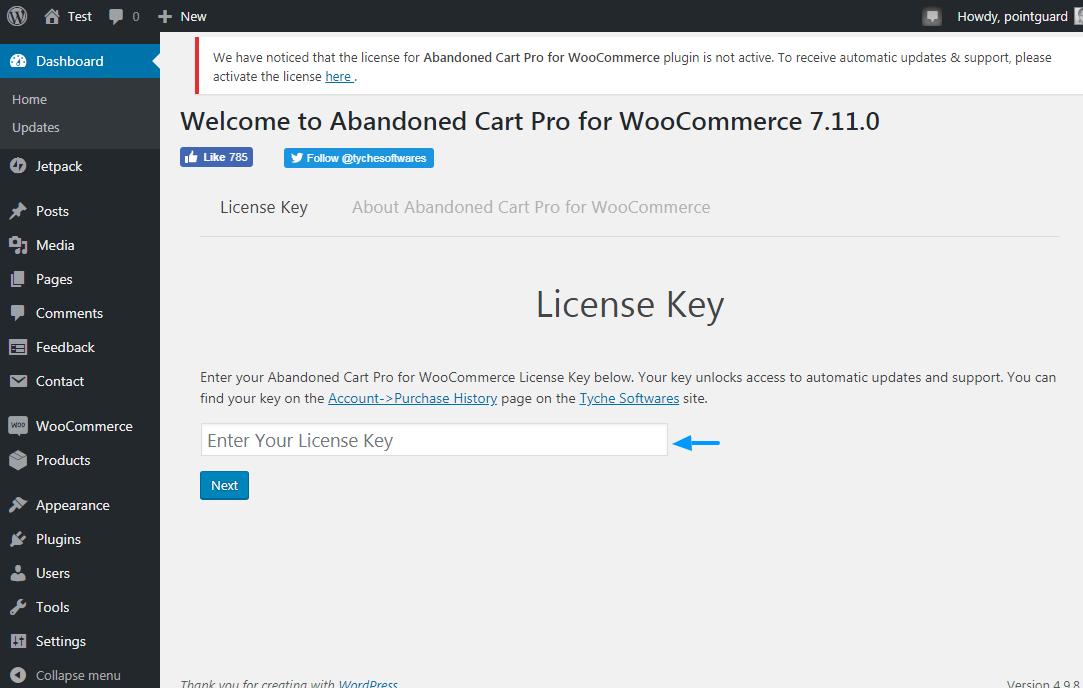 abandonado card pro para clave de licencia de woocommerce