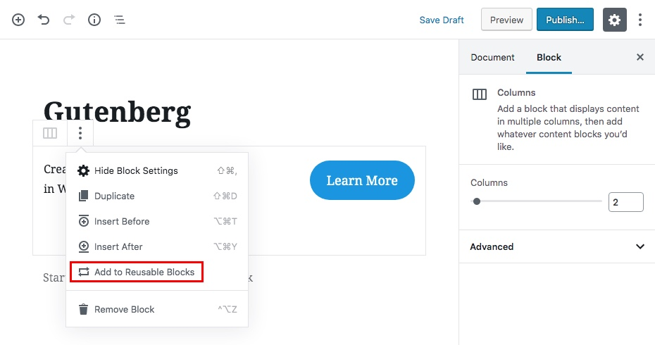 Bước khối nội dung tái sử dụng Gutenberg 1