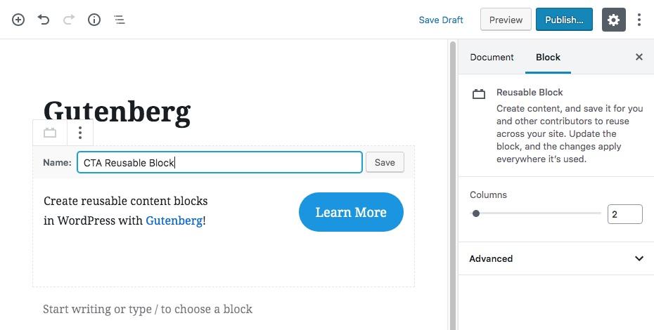 Bước khối nội dung tái sử dụng Gutenberg 2