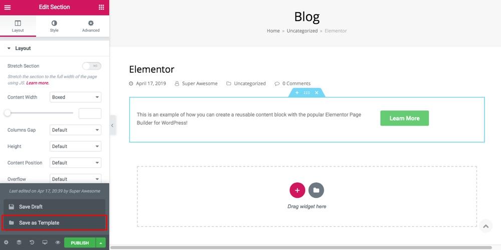 Elementor Khối nội dung tái sử dụng Bước 1