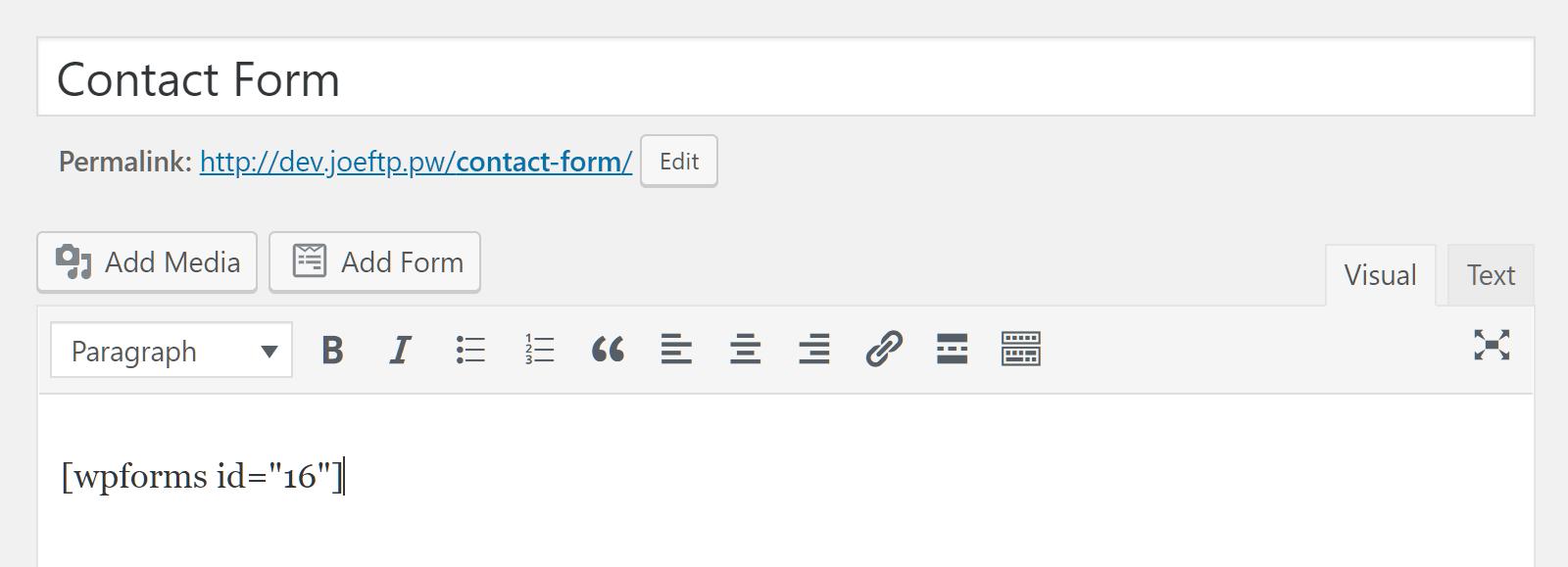 WPForms qısa kod təşkil edir